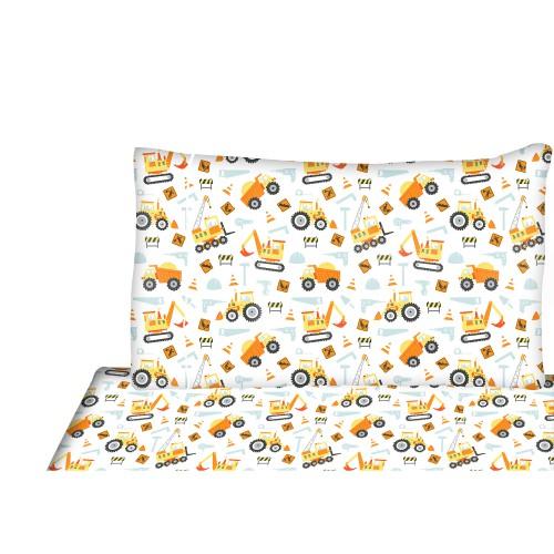 ensemble de drap pour enfant construction. Black Bedroom Furniture Sets. Home Design Ideas